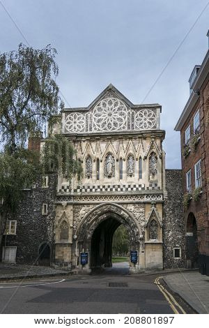 Ethebert Gate leading to Norwich Cathedral Norfolk UK