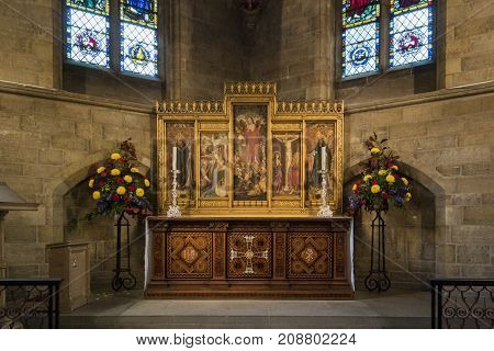 NORWICH, NORFOLK, 4TH OCTOBER 2017 - The altar in St Saviour's Chapel Norwich Cathedral Norfolk UK