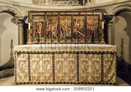 NORWICH, NORFOLK, 4TH OCTOBER 2017 - The Despenser Reredos altarpiece with scene from Christ's Passion c1380 in St Luke's Chapel Norwich Cathedral Norfolk UK