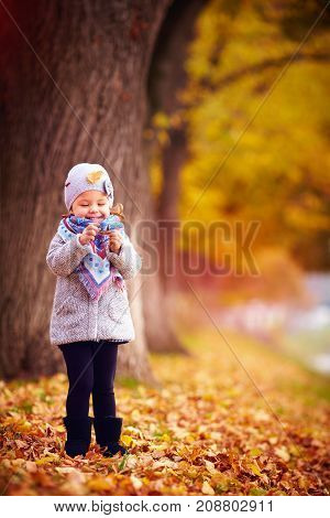 Adorable Happy Baby Girl Having Fun In Autumn Park, Admiring The Fallen Leaves