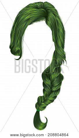 trendy women hairs green colour . plait . fashion beauty style .