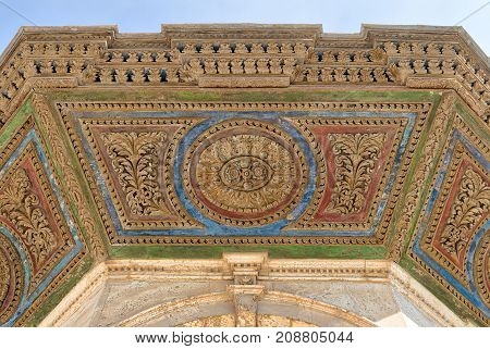 Colorful decorative panel of the ceiling of ablution fountain in front of the Great Mosque of Muhammad Ali Pasha (Alabaster Mosque) Citadel of Cairo Egypt