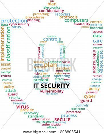IT Security Word Cloud Text Illustration. Cyber security protection shield keyword tags isolated vector. Transparent.