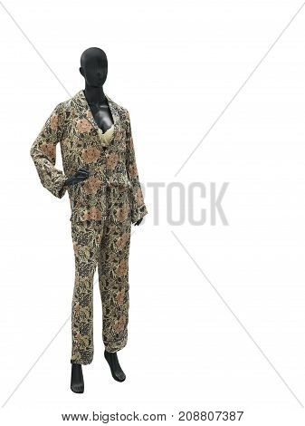 Full-length female mannequin in nightwear isolated on white background. No brand names or copyright objects.