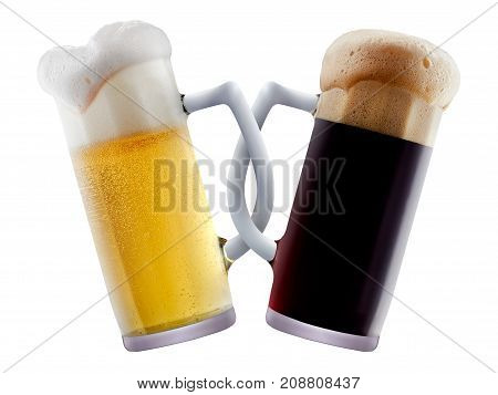 Two beer mugs being attached to each other and making toast. Friendship or oktoberfest concept isolated on white background