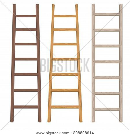 Wooden ladder set. Flat style. Step ladders collection of different colors isolated on white. Vector