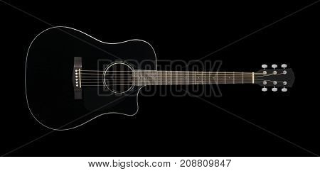 Musical instrument - Black acoustic guitar cutaway on a black background.