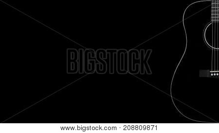 Musical instrument - Silhouette of a black acoustic guitar on a black background.