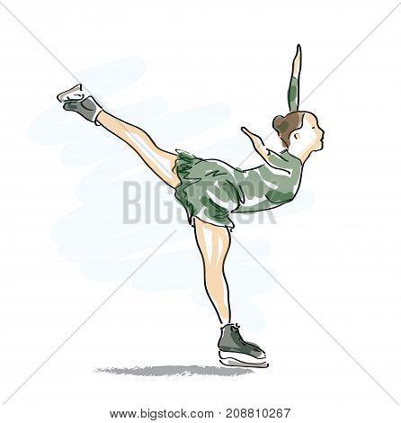 Ice    Skating woman in green - vector illustrstion
