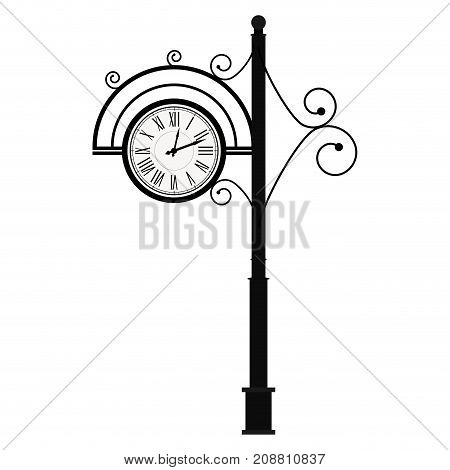 Street Retro Clock on Pole. Vintage antique clock clock face vector. Illustration of street element with curls decoration