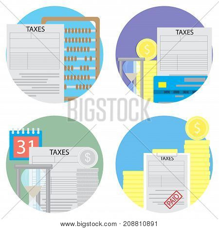 Taxes count and pay a set of icons. Vector tax and money calculator and taxes due accounting taxes money illustration