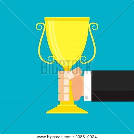 Winner in business. Gold cup in hand. Vector golden cup trophy winner cup illustration