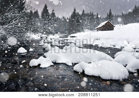Winter Landscape With Snowing, Fresh Snow