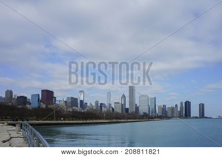 Skyscapers And Skylin Of Chicago And Lake Michigan From Milennium Park