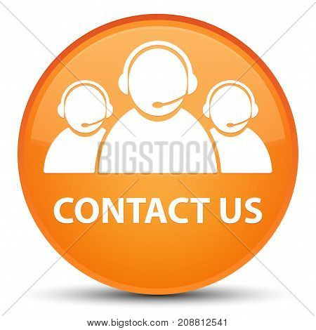 Contact Us (customer Care Team Icon) Special Orange Round Button