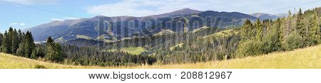 A beautiful panorama of the Carpathian mountains in the summer in the rays of the morning sun. A view of Mount Gumba which is located near the town of Pilipets.