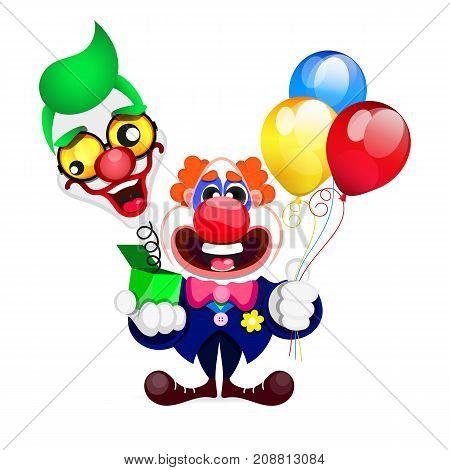Illustration of cartoon beautiful clown. Vector illustration.
