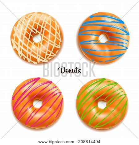 Sweet donuts isolated on white background. Yummy cookie donut food. Candy decoration color donut with topping. Glazed pastry delicious snack, eat candy.