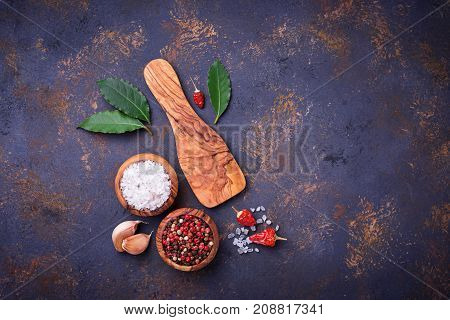 Herbs and spices. Culinary background. Top view