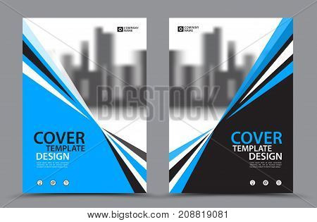 Blue Color Scheme with City Background, Business Book Cover Design Template in A4. Brochure layout, Annual Report, Magazine, Poster, Presentation, Portfolio, Flyer, Banner, Website, leaflet, other.