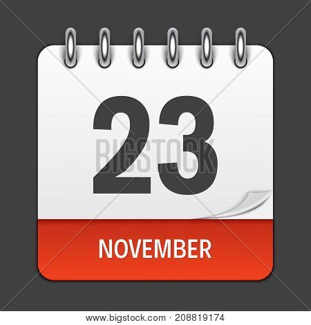 November 23 Calendar Daily Icon. Vector Illustration Emblem. Element of Design for Decoration Office Documents and Applications. Logo of Day, Date, Month and Holiday. Thanksgiving Day. EPS10