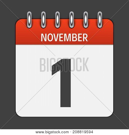 November 1  Calendar Daily Icon. Vector Illustration Emblem. Element of Design for Decoration Office Documents and Applications. Logo of Day, Date, Month and Holiday. EPS10