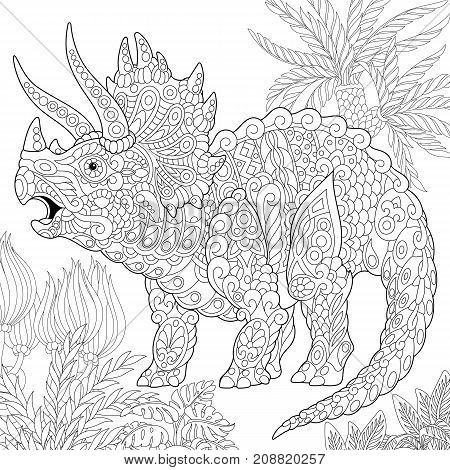 Coloring page of triceratops dinosaur living at the end of the Cretaceous period. Freehand sketch drawing for adult antistress coloring book in zentangle style.
