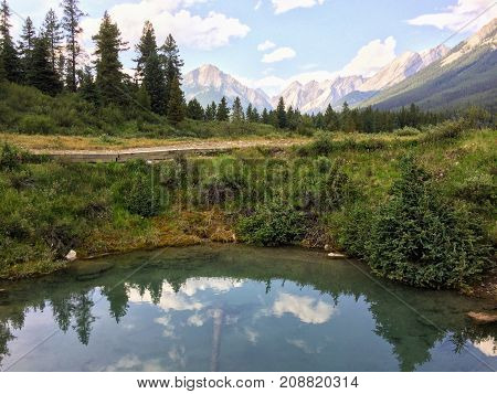 Views around the Ink Pots in Johnston Canyon, Banff National Park, Canadian Rockies, Canada, Alberta