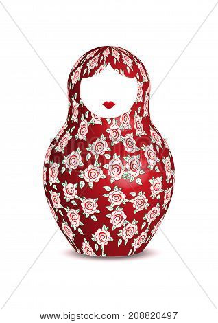 Russian nesting doll matrioshka with floral decoration, 3D icon symbol of Russia, vector isolated