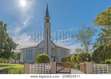 AUGRABIES SOUTH AFRICA - JUNE 12 2017: The Dutch Reformed Church in Augrabies a small town in the Northern Cape Province