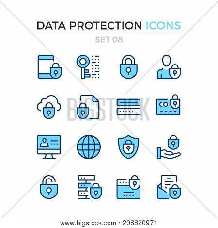 Data protection icons. Vector line icons set. Premium quality. Simple thin line design. Modern outline symbols, pictograms