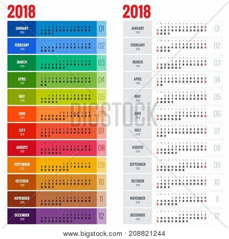 Yearly Wall Calendar Planner Template for 2018 Year. Vector Design Print Template. Week Starts Sunday