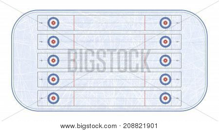 Curling stadium top view. Winter sport. Sport game. Textures blue ice. Ice rink. Vector illustration background