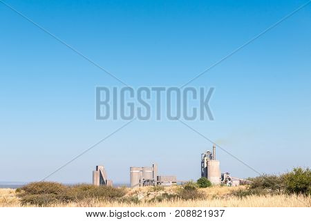 ULCO SOUTH AFRICA - JULY 7 2017: The lime processing plant at Ulco a town in the Northern Cape Province of South Africa