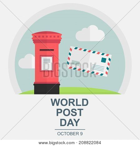 World Post Day, October 9. Conceptual design illustration vector for world post day with letter and postbox.