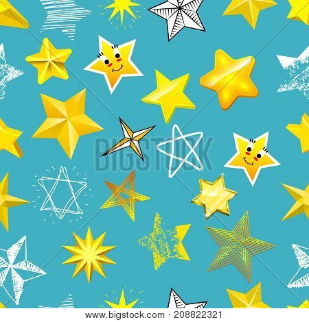 Different style shape silhouette shiny star icons collection vector illustration seamless pattern background.