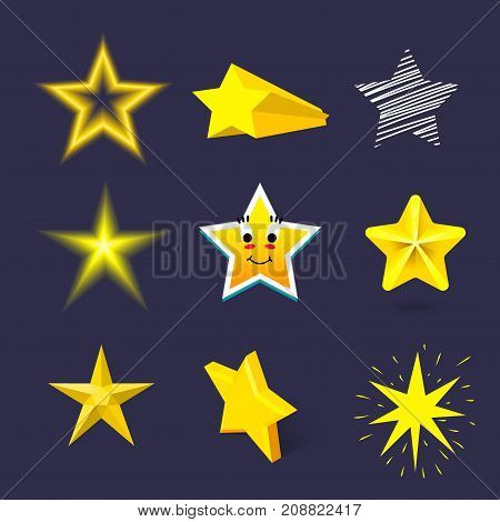 Different style shape silhouette shiny star icons collection vector illustration. Pointed pentagonal gold award. Abstract design star symbol. Vector shape graphic element on blue background