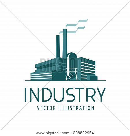 Industry logo or icon. Factory, industrial production, building label. Vector illustration isolated on white background