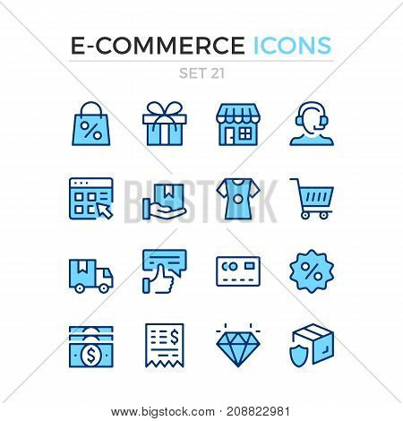 E-commerce icons. Vector line icons set. Premium quality. Simple thin line design. Modern outline symbols, pictograms