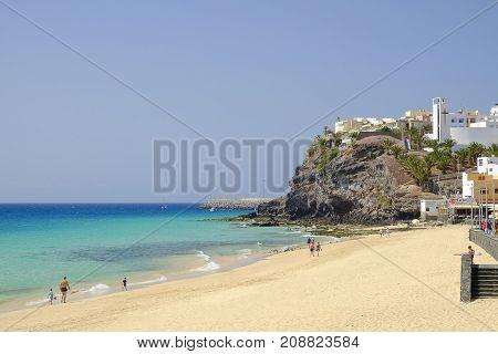 MORRO JABLE FUERTEVENTURA SPAIN - 12 OCTOBER 2017: View on the beach Playa del Matorral.