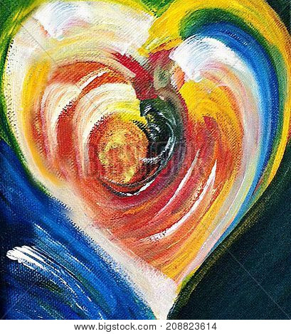Acrylic painting of yellow white blue black and red  abstract heart