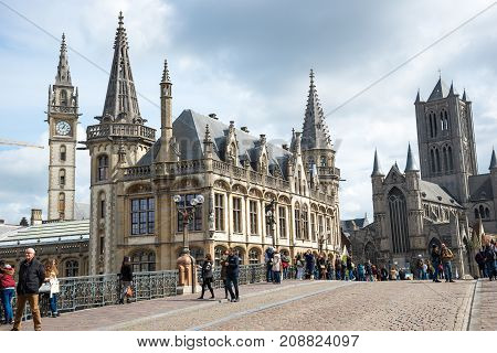 The Sint Michielsbrug Bridge In Ghent, St Nicholas Church And Belfort, Belgium.
