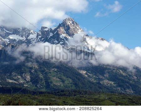 Clouds On The Mountain Grand Tetons Wyoming