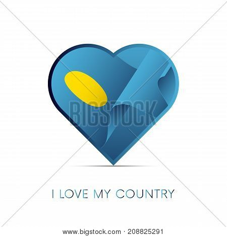 Palau flag in heart. I love my country. Sign. Vector illustration.