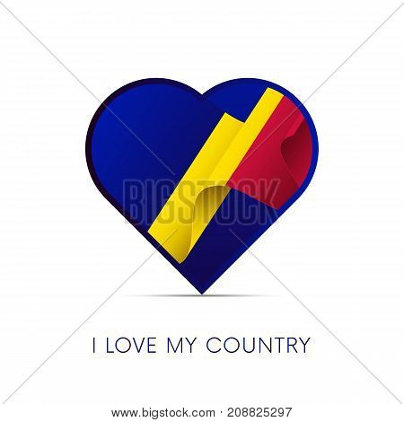 Andorra flag in heart. I love my country. Sign. Vector illustration.