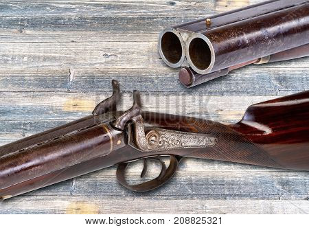 Antique Cowboy western coach shotgun with room for your type.