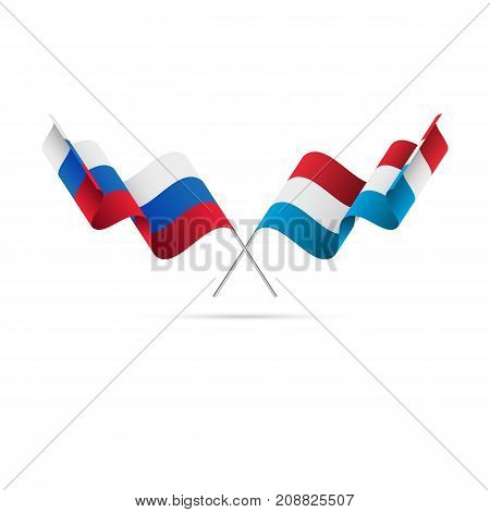Russia and Luxembourg flags. Waving flags. Vector illustration.
