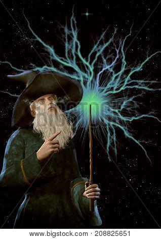 Fantasy old mage portrait on a cosmic background. 3D Illustration.