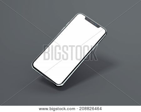 Modern smartphone isolated on gray background. 3d rendering
