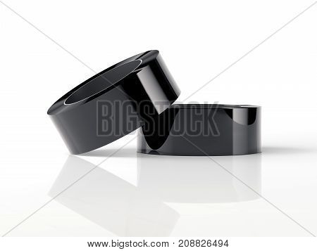 Black adhesive tape isolated on white background. 3d rendering
